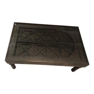 Moroccan Glass and Wooden Door Coffee Table