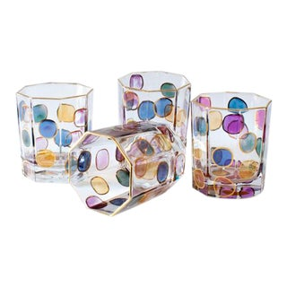 MacKenzie-Childs Octagon Lustre Bubble Glasses - Set of 4