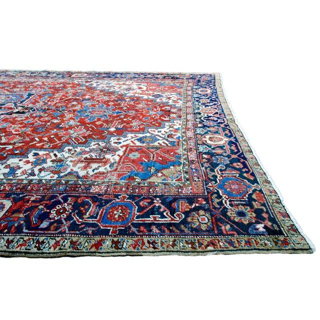 """Antique Persian Heriz Rug - 8' 10"""" x 11' 2"""" - Image 6 of 9"""