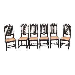 Antique Carved Barley Twist Cane Seat Dining Chairs - Set of 6 For Sale