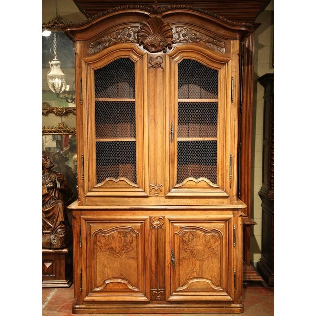 French 18th Century French Carved Walnut Buffet Deux Corps For Sale - Image 3 of 10