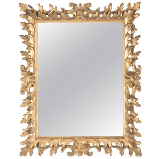Italian Rococo Style Gilt Wood Vanity Mirror For Sale