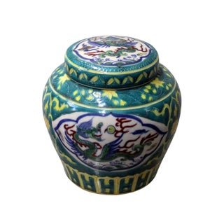 Chinese Green Porcelain Color Dragon Phoenix Theme Urn Jar Container For Sale