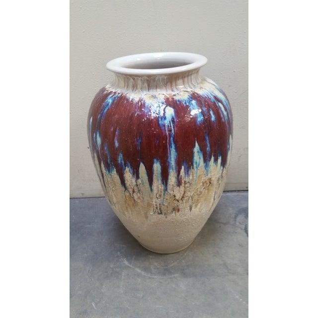 Asian 1950s Vintage Drip Glaze Floor Vase For Sale - Image 3 of 4