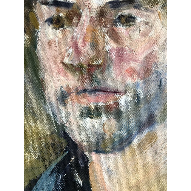 1980s Vintage Oil Portrait of a Man on Canvas, Framed For Sale - Image 5 of 10