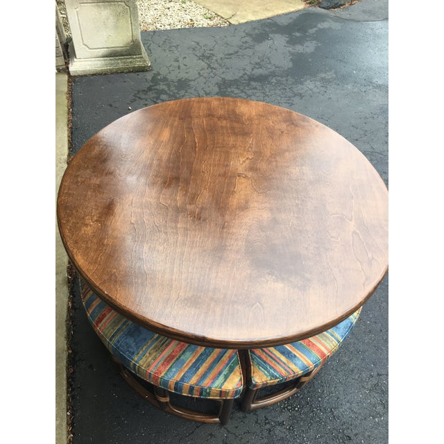 Blue 1970's Vintage Walnut Adjustable Games Table & Stools- 5 Pieces For Sale - Image 8 of 11