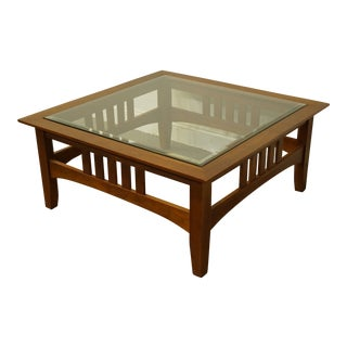 Ethan Allen American Impressions Square Accent Coffee Table With Glass Top For Sale