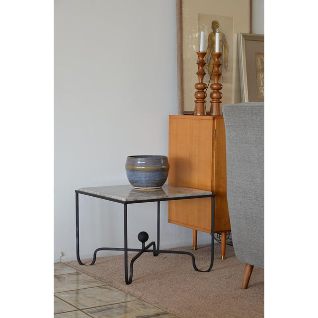 Silver Large 'Entretoise' Silver Travertine Side Tables by Design Frères - a Pair For Sale - Image 8 of 9
