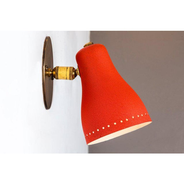 1950s Red Perforated Sconces Attributed to Jacques Biny - a Pair For Sale In Los Angeles - Image 6 of 11