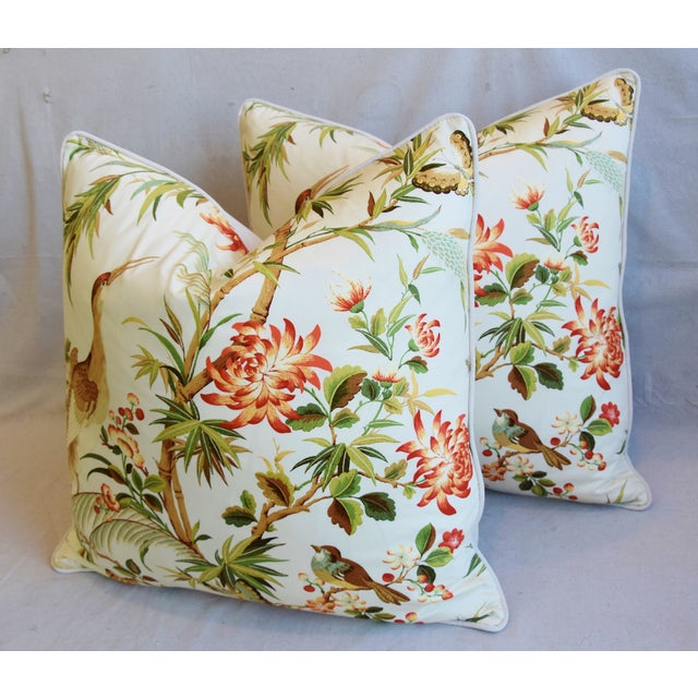 """Green Chinoiserie Floral Birds & Crane Feather/Down Pillows 24"""" Square - Pair For Sale - Image 8 of 13"""