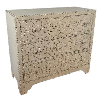 Linen and Nickel Nailhead 3-Drawer Chest - Image 1 of 7