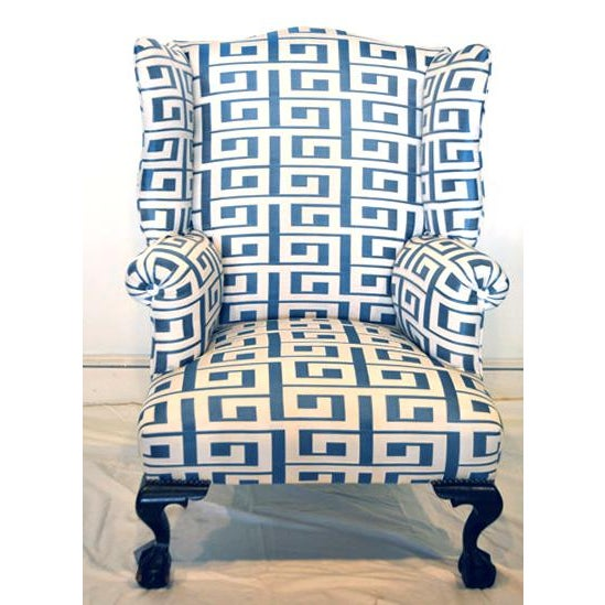 """Antique wing chair custom-upholstered in blue / white """"Greek Key"""" patterned designer fabric. features nail head trim,..."""