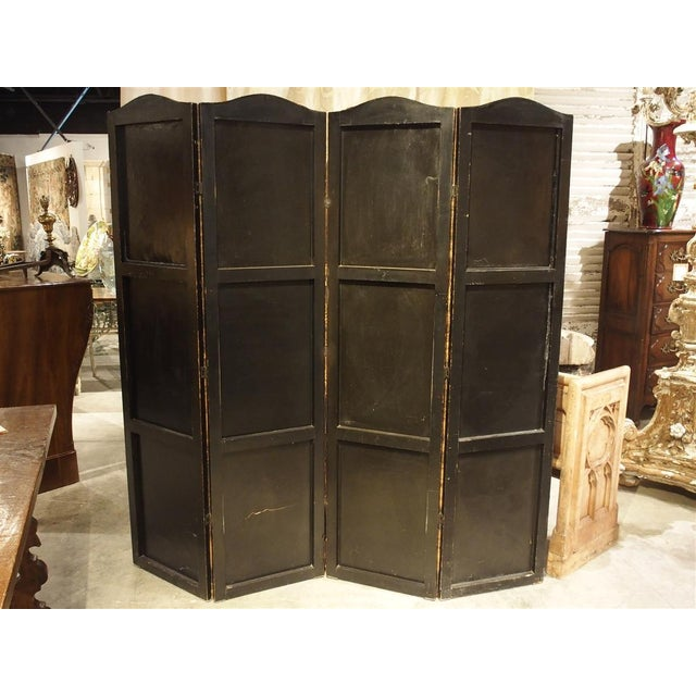 From England, this warm and inviting four paneled leather screen is a continuous painted scene. It depicts a London...