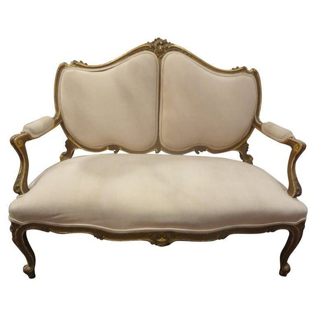 Late 19th Century Italian Louis XV Style Giltwood Loveseat For Sale - Image 10 of 11