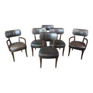 Traditional Henredon Acquisitions Green Leather & Mahogany Nailhead Chairs - Set of 6 For Sale