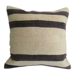 Handmade Black & White Vintage Kilim Pillow Cover For Sale