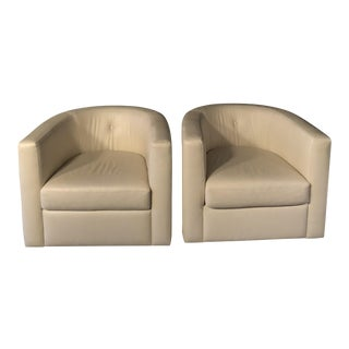 Frankie Barrel White Leather Modern Swivel Chairs - A Pair