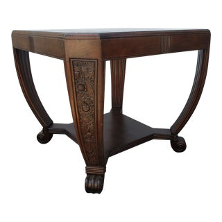 1920s American Newton & Hoit Chicago, Ill Carved Mahogany Table For Sale