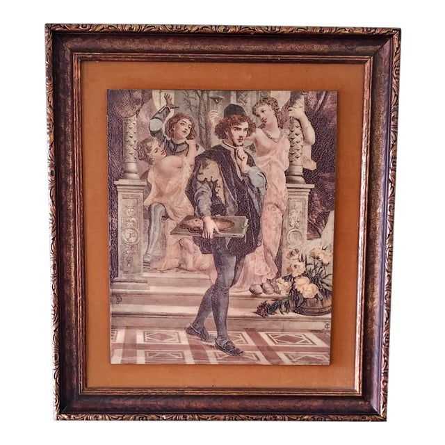 Image of Vintage Artini Hand Painted Sculpture Engraved Wall Art