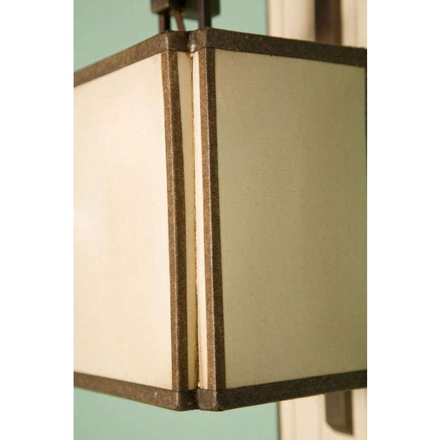 Paul Marra Paul Marra Leather Back Sconce with Oiled Paper Shade For Sale - Image 4 of 6