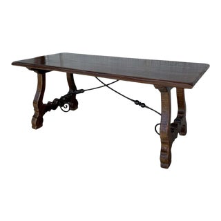 20th Century Refectory Spanish Table With Lyre Legs and Iron Stretch For Sale