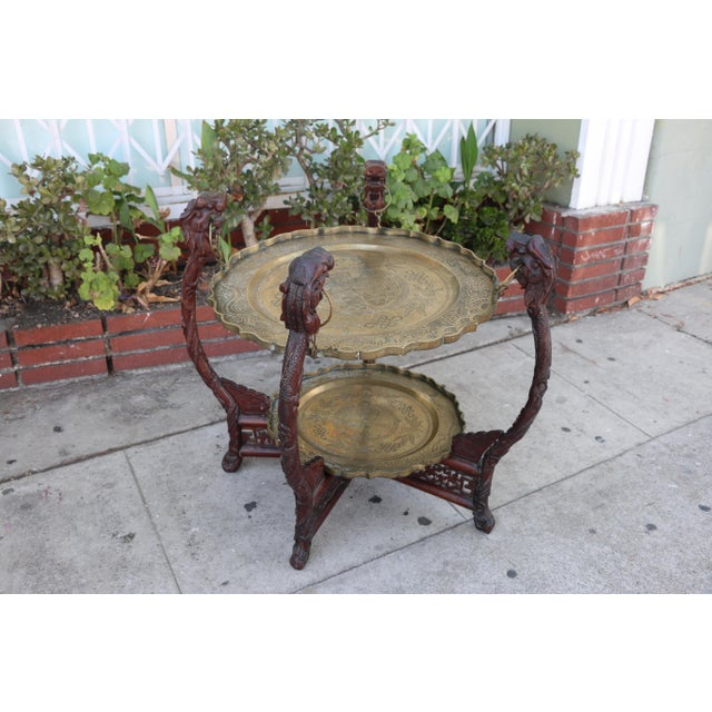 Antique Chinese 2 Tier Brass Center Table For Sale - Image 11 of 12