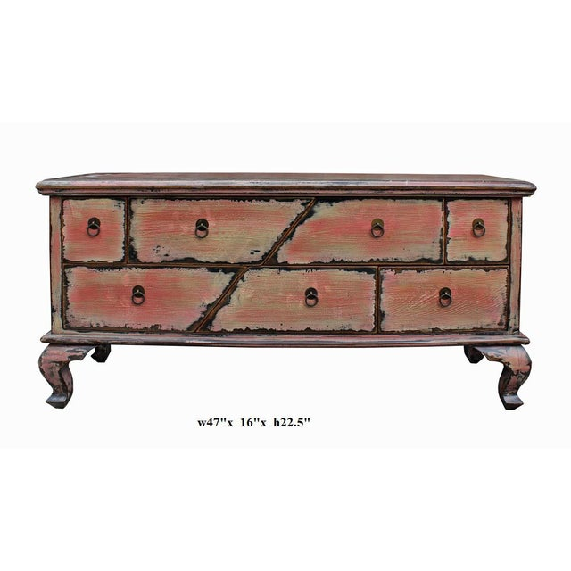 Chinese Pink Distressed Cabinet - Image 7 of 9