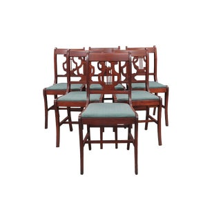 1940s Vintage Duncan Phyfe Style Lyre Dining Chairs- Set of 6 For Sale