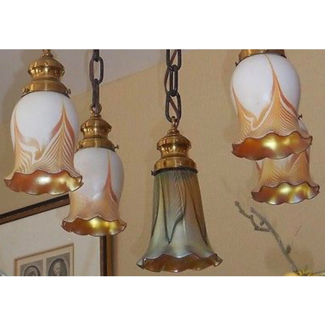 Steuben Steuben Antique Pulled Feather Shades Chandelier For Sale - Image 4 of 4