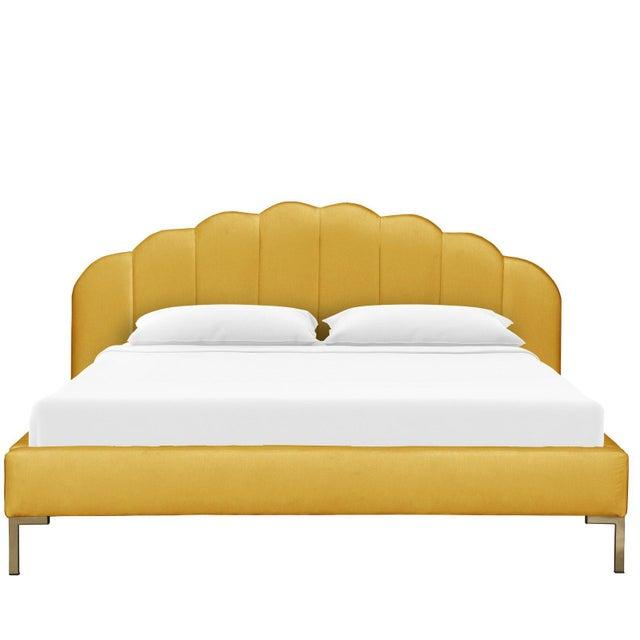 Art Deco California King Shell Platform Bed in Monaco Citronella For Sale - Image 3 of 7