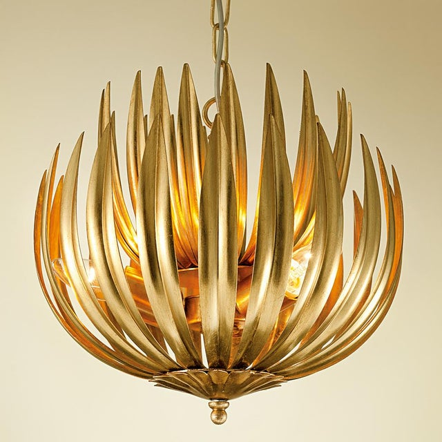 """Random curved metal leaves with internal gold leaf to reflect warm glow. Available in three sizes (13.8"""" 25.6"""" 28""""..."""
