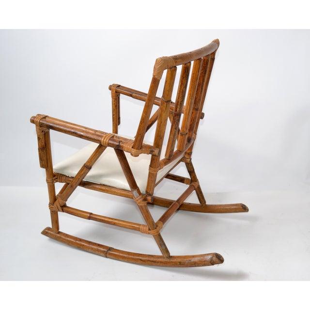 Mid-Century Modern Boho Style Bamboo & Vinyl Children Rocking Chair For Sale - Image 4 of 13