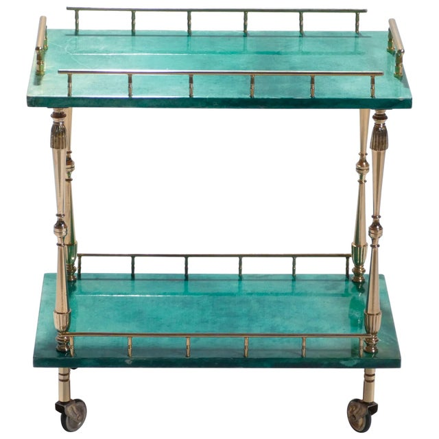 Small Aldo Tura Goatskin Parchment Bar Cart, 1950s For Sale - Image 10 of 10