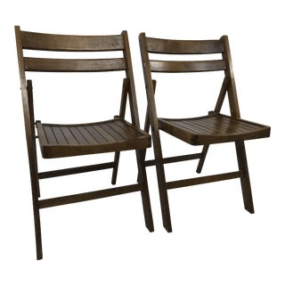 Vintage Wood Folding Chairs - a Pair For Sale