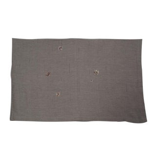 Vintage Linen Coverlet with Beading For Sale