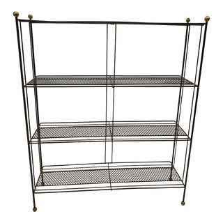 Mid Century Modern Black/Gold Metal Wire Rack Stand