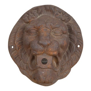 Antique Cast Iron Lion Head Fountain Spout For Sale