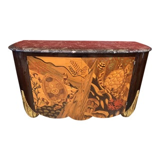 Sumptuous Art Deco Style Undersea Marquetry Sideboard. Marble Top For Sale