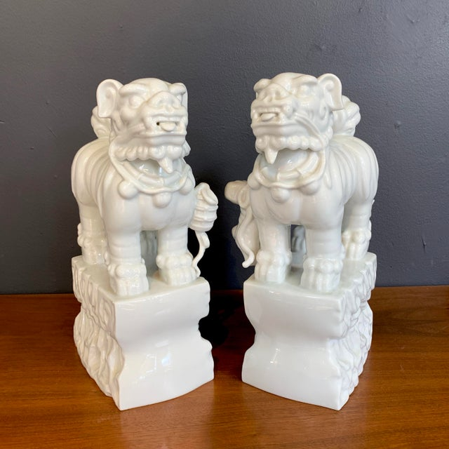 Blanc De Chine Foo Dogs - a Pair For Sale - Image 4 of 4