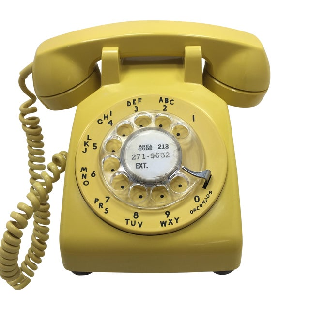 Bright Yellow Rotary Dial Telephone - Image 1 of 11