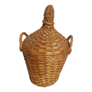 Vintage French Hand Woven Wicker Wrapped Demijohn For Sale