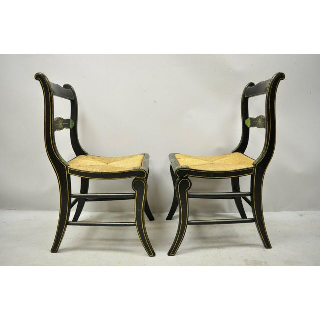 19th Century Antique Hitchcock Style Black Hand Painted Rush Seat Side Chairs - a Pair For Sale - Image 11 of 12