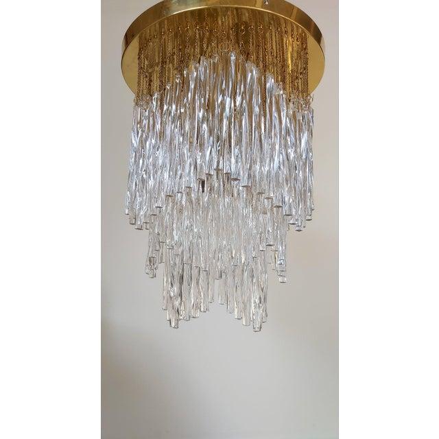 Metal Vintage Mid-Century Murano Glass Chandelier Fixture For Sale - Image 7 of 11