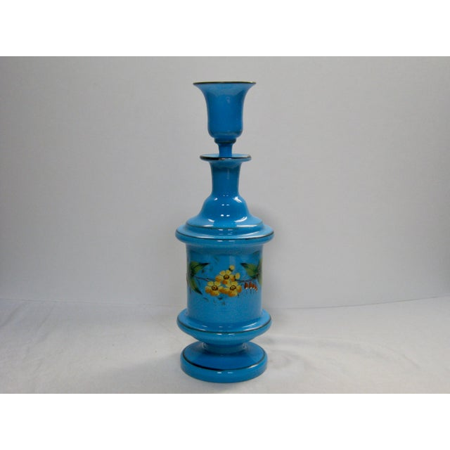 Traditional Antique French Hand Painted Blue Opaline Decanter For Sale - Image 3 of 10