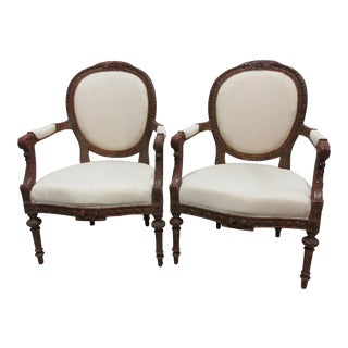 Original Finish Swedish Gustavian Arm Chairs - a Pair For Sale