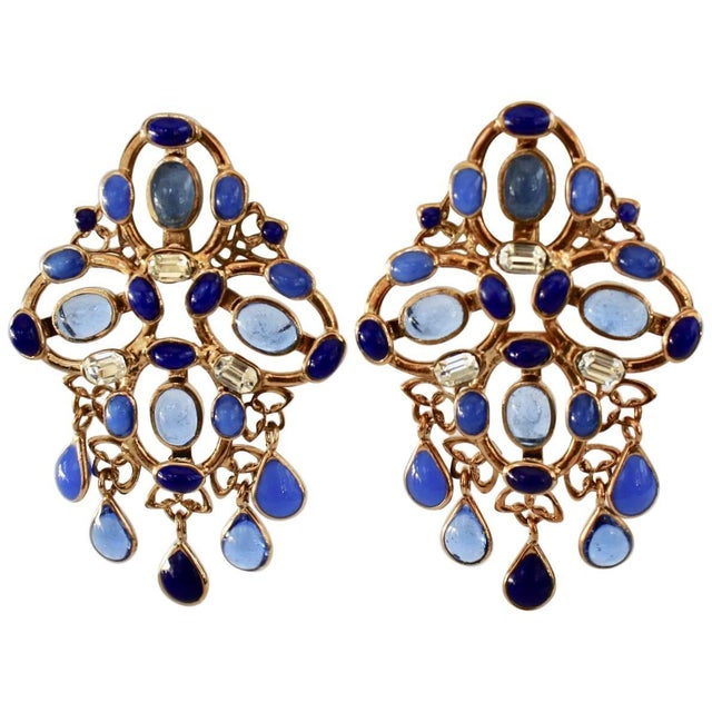 2010s Gripoix Plumetis Clip Drop Earrings For Sale - Image 5 of 5