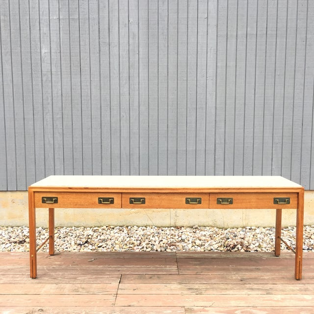 1960s Mid-Century Modern Gerry Zanck for Gregori Long Travertine Sofa/Console Table For Sale - Image 13 of 13