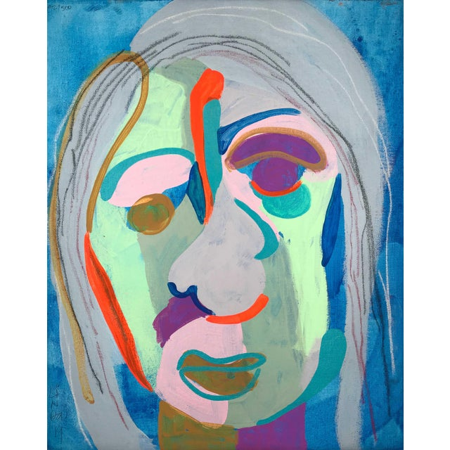"""Blue Contemporary Abstract Portrait Painting """"Witness This"""" For Sale - Image 8 of 8"""