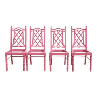 Pink Faux Bamboo Hollywood Regency Dining Chairs - Set of 4
