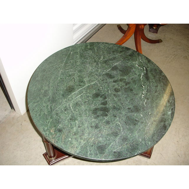 Marque Genuine Marble Top Coffee Table: Vintage Green Marble Top & Mahogany Coffee Table